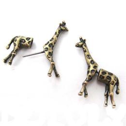 Wholesale Stripe Piercing - Girls Children Lovely Post Stud Earrings 3D Long Stripe Giraffe Animal Ear Piercing Men Charms Jewelry Bohemian Style jl-075