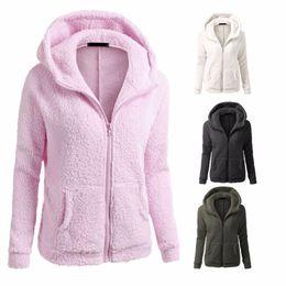Wholesale Women Thicken Fleece Warm Coat - Womens Winter Autumn Thicken Fleece Warm Coat Long Sleeve Solid Black Gray Hooded Parka Overcoat Jacket Outwear S-2XL