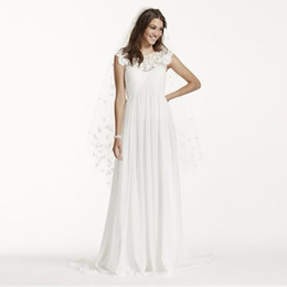 Wholesale Chiffon Bridal Veil - Cap Sleeve Chiffon A-Line with Floral Applique WG3698 Elegant Bridal Dress Simple No Bidding Veil vestido de novia