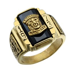 Wholesale Stainless Ring Lion - HIP HOP Punk Gothic Two Tone Gold Color Titanium Stainless Steel Lion Head Ring for Men