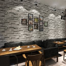 Wholesale Wall Decoration Bricks - Wholesale- Retro 3D Wallpaper Modern Brick Rock Stone Wall Decals Paper Coating For Living Room Decor Hotel Decoration Wall Covering