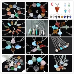 leather chokers necklaces Promo Codes - 24 styles Hexagon Prism Necklace drop Natural Stone Pendants Chokers Heart Moon Cross Rose Quartz Healing Crystals stone Necklaces Jewelry