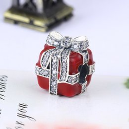 Wholesale Pandora Bead Gift Box - Wholesale Real 925 Sterling Silver Not Plated Red Gift Box Cubic Zirconia European Charms Beads Fit Pandora Snake Chain Bracelet DIY Jewelry