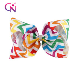 Wholesale chevron hair - 10 Pcs lot 7 inch Colorful Chevron Grosgrain Ribbon Hair Bows With Prong For Girl Kid Hair Clips