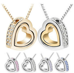 Wholesale Double Rope Necklace - 2017 Dendy Classic 18K Gold +White Gold Plated Double Heart Crystal Love Pendant Necklace Crystals from SWAROVSKI TOP1509