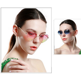Wholesale heart glasses frames - Heart Shaped sunglasses woman Lovely shades Sun Glasses for women candy color metal frame girl sunglass mirror lunette soleil A222