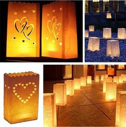 Wholesale Lighting For Paper Lanterns - 26*15cm Heart Shaped Tea Light Holder Luminaria Paper Lantern Candle Bag For Christmas Party Outdoor Wedding Decoration CCA6880 200pcs