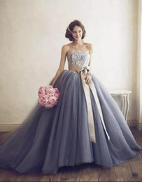 Wholesale Strapless Lace Dress Belt - Lavender Ball Gown Quinceanera Dresses 2017 Strapless Lace Appliques A Line Tulle Quinceanera Gowns with Champagne Belt Formal Prom Gowns