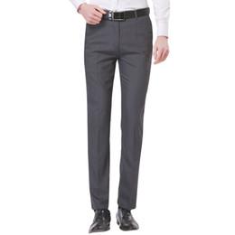Wholesale Flat Front Pants - Wholesale- 2017 Spring Men's Gray Solid Suit Separate Pant Flat-Front Slim Fit Unelastic Light weight Wrinkle-resistant Business Dress Pant
