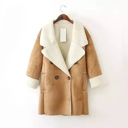 Wholesale Lamb Leather Coats Women - Winter New Women Wool Coat Thick Suede Leather Turn-down Collar Wool Long Coat Casual Double Breasted Warm lamb wool Outerwear