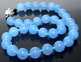 "Wholesale Strings Gemstone Beads - 18""Necklace Blue Jade Necklace Round Gemstone Beads Knotted Choker Candy Jade AR"