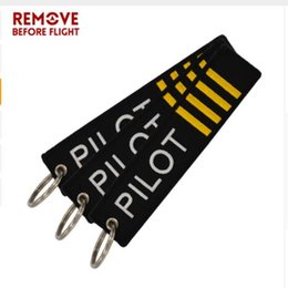 Wholesale pilot keys - dhl free Remove Before Flight OEM Key Chain Jewelry Safety Tag Embroidery Pilot Key Ring Chain for Aviation Gifts Luggage Tag Label