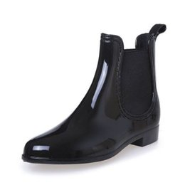 Wholesale Trendy Leather Boots - Rubber Boots 2018 Waterproof Trendy Jelly Women Ankle Rain Boot Elastic Band Solid Color Rainy Shoes Women