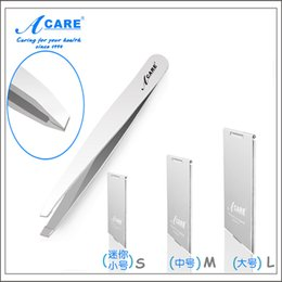 Wholesale Large Mirrors Wholesale - Wholesale-ACARE 1x Silver Slant Stainless Steel Eyebrow Tweezers & Small Middle Large Folding & Light Mirror Compact Pocket Mirror
