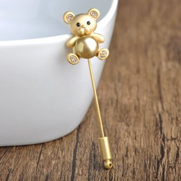 Wholesale Coats For Women Korea - Wholesale- Korea Kawaii Cute Bear Brooches For Women Kid Simulated Pearl Crystal Silver Gold Broches Lapel Stick Pins Tie Clips Coat Spille