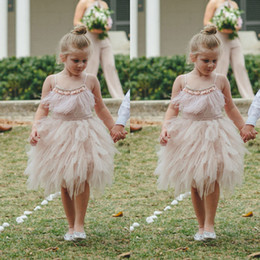 Wholesale Baby Blue Feather - Blush Pink Feather Flower Girl Dresses Knee Length Toddler Pageant Dress Boho Wedding Beach Little Baby Gowns for Communion