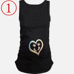 Wholesale Maternity Clothes T Shirts - New funny summer t shirts for pregnant cotton maternity t-shirts short sleeve summer tops peek a boo maternity clothes with footprints Mater