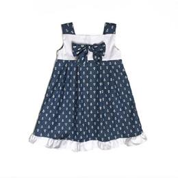 Wholesale Girls Sailor Style Dress - 2017 Baby Girls Dresses Sleeveless Newborn One-Piece Dress Navy Sailor baby girl baptism dresses Infant Clothing Blouses Cotton