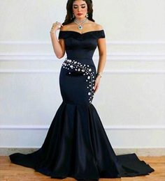 Wholesale Black Dress Off Shoulders - Plus Size Prom Dresses 2017 Saudi Arabic Black Satin Mermaid Prom Dresses Off Shoulder Crystals Evening Dress Custom Made Special Occasion