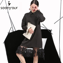 Wholesale Vertical Striped Dress Women - Wholesale- [soonyour] 2017 Spring Ladie Vertical Stripes Lapel Three-Dimensional Dress Stitching Yarn Women New Apparel wholesale 4L0051