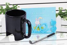 Wholesale Happy Spoon Wholesale - Wholesale- Free Shipping 6Pieces Creative 300ml Mini Black Ceramic Golf Mug Executive Sports Marker Golf For Happy Birthday Gift