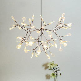 Wholesale Acrylic Ceiling Lamp Chandelier - Modern Firefly LED Chandelier Acrylic Lamp Branch Ceiling Light Rose golden Metal Branches Atmosphere Lighting Fixtures
