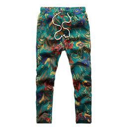 Wholesale Full Minutes - Wholesale- SYB-Summer Men's Fashion pants Flower print slim casual Pattern pants men Linen Trousers Joggers Nine minutes Pants M MK06