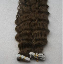 """Wholesale Hair Extensions Tape Curly - Top Quality 14""""-30"""" #4 Dark Brown Deep Curly Tape Hair Extensions 100% Human Tape Hair Extensions 100g 40pcs Skin Weft Tape Hair Extensions"""