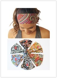 Wholesale Wholesale Hair Bangs - Yoga headbands female bohemian sports headwear bang holder ponytail hair wear accessory gift stylish color print