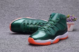 Wholesale Rhinestone Nylons - Free Shipping 2017 Air Retro 11 Miami Hurricanes Basketball Shoes air retro 11s Green Orange Sneakers Size us 7 - 13 Come With Box