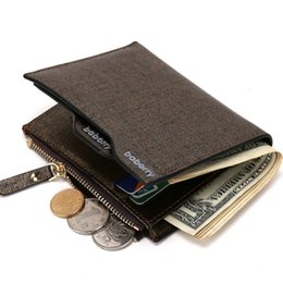 Wholesale Blue Bifold Wallet - 2017 Men Wallet Coin Bag zipper ID Credit Card Holder Faux Leather Bifold Coin Purse Top Brand Wallet Pockets Promotion Gift