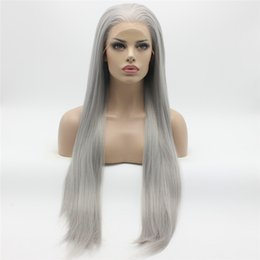 Wholesale Extra Long Lace Hair - Iwona Hair Straight Extra Long Grey Wig 22#0906 Half Hand Tied Heat Resistant Synthetic Lace Front Wigs
