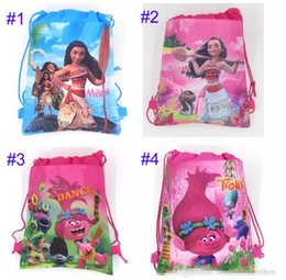 Wholesale Shoulder Girls School Bags - Drawstring Bags Trolls Moana Cartoon Non Woven Sling Bag 4 style Kids Backpacks School Bags Girls Party Gift
