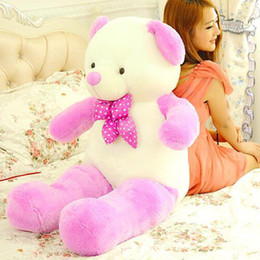 Wholesale Large Purple Doll - Lovely 100cm large plush bow Teddy bear toy stuffed big new lovely green  brown   purple bear gift doll