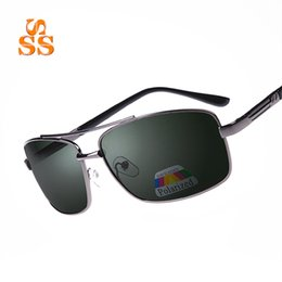 Wholesale Opening Drive - Wholesale- Classic Unisex High-end Polarized Sunglasses & Case Name Brand Design Men Square Alloy Frame Open Air Driving Sun Shades SA31