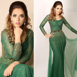 Wholesale Apple Brooches - 2017 Saudi Arabic Evening Dresses Green Bateau Lace Appliques Beaded Long Sheer Sleeves with Belt Prom Gowns
