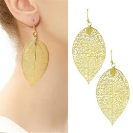 Wholesale Earrings Fashion New Arrival - New Arrival Pendientes Jewelry Bijoux Fashion Leaf Design Long Hollow Out Dangle Earrings For Women Accessories