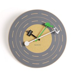 Wholesale Silent Wall Clocks - Wholesale- Simple Tortoise and the Hare mute wood wall clock creative Silent pure pine wall clocks clock Wall Unique gift Home decor