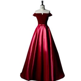 2019 vestidos de quinceañera Vino rojo Vestido de fiesta de graduación Brocade Off The Hombro Barco Cuello de encaje con lazo Vestido de fiesta Suelo Lenth Vestido largo de noche Onepiece