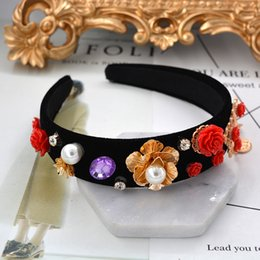 Wholesale Red Big Flower Hair Bands - new Europe and America big brand Luxury baroque hairpin wide-brimmed crown hair bands rose metal flower pearl trendy hair accessories