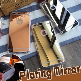 Wholesale Iphone 4s Shockproof - Electroplating Mirror Case TPU Clear Ultra Slim Soft Shockproof Plating Cover For iPhone 8 Plus 7 6 6S SE 5 5S 4S 4 Samsung S8 Plus S7 edge