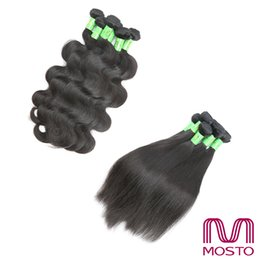 Wholesale Dyeable Malaysian Hair Bundles - New Grade 8 Brazilian Hair Weaves Human Hair Extensions Body Wave Straight Human Hair Bundles Dyeable Natural Black Color MOSTO Best Quality