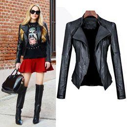 Wholesale Pu Leather Xxl Women - Wholesale- New! 2017 Spring Newest Fashion Sexy Women Leather Jacket Motorcycle PU Coat Cool Girl Slim Leather Coat S-XXL 30 High quaity