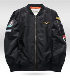 Wholesale Mens Winter Bomber Jackets - Wholesale- Plus Size Mens MA-1 Bomber Jacket 2016 Male Winter Waterproof MA1 Black Army Green Air Force Bomber Flight Jackets Down Coats