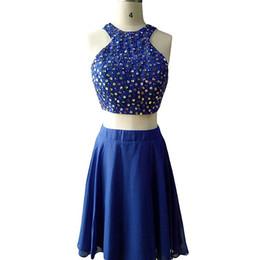 2 pièces robe de bal 2018 longueur de thé perlé robes de bal élégante robe de soirée royal bleu bourgogne ? partir de fabricateur