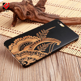 Wholesale Plants Orange - Flower Plant Case Art Wood U&I Cover for iPhone x 5 5s 6 7 7Plus 8 Plus Engrave Collection carving cell phone cases