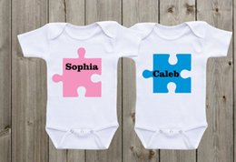 Wholesale Custom Baby Boy Outfits - twin matching outfits puzzle designs baby onesies twin onesies custom Onsie Boy Girl Twin Onesies Baby shower gifts Twin Bodysuits