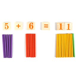 Wholesale Wooden Math Sticks - Wholesale- 1Set Arithmetic Rods Math Learning Toy Wooden Sticks Counting Numbers Calculating Toy Early Educational Math Toy