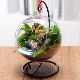Wholesale Colored Glaze - Beautiful Clear Round Glass Vase Hanging Bottle Terrarium Hydroponic Container Plant Flower Home Table Wedding Garden Decor