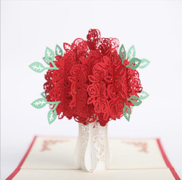 Wholesale Wedding Card Handmade - 10pcs Hollow Rose Flower Handmade Kirigami Origami 3D Pop UP Greeting Cards Invitation card For Wedding Birthday Party Gift